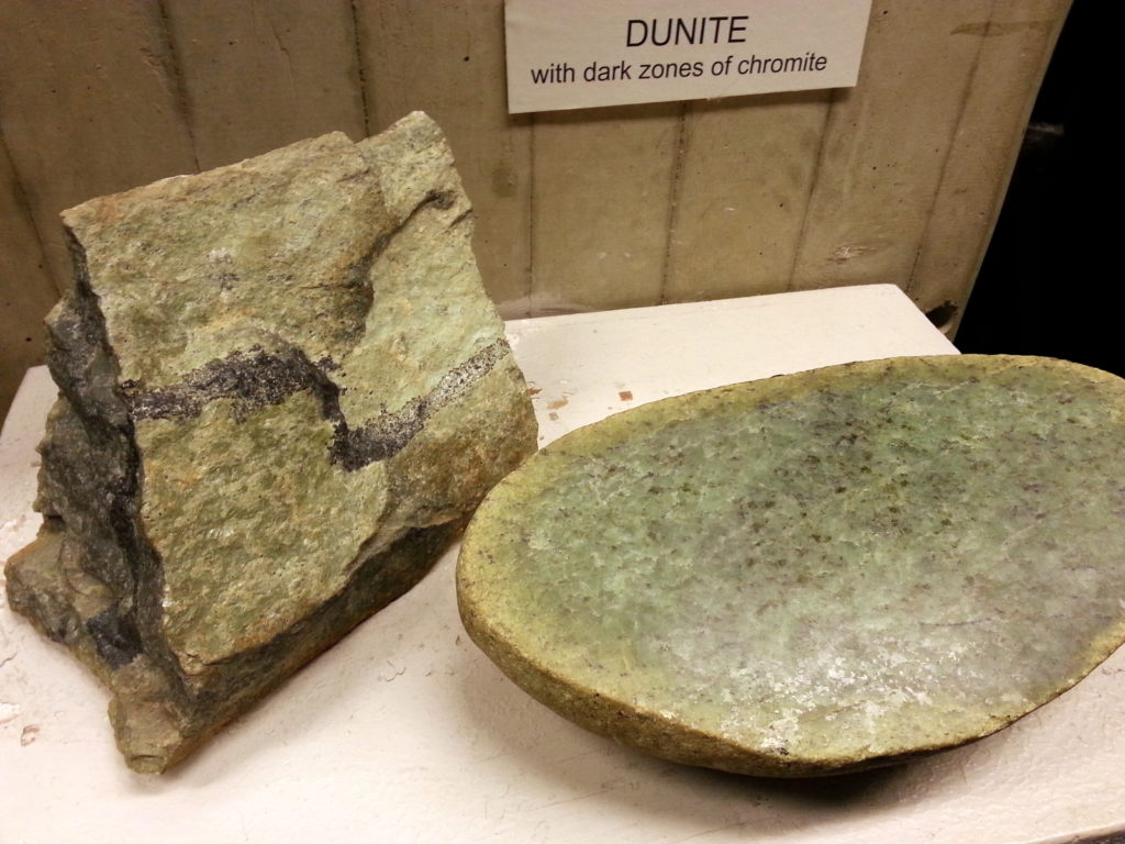 Dunite rock showing green Olivine and black Chromite